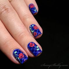 Midsummer Night Rose Garden - double stamping nail art with MoYou and Bundle Monster  |  Sassy Shelly