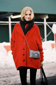 Pair a bright coat with your basic black skinny jeans // 11 Ridiculously Easy Outfits To Try This Week