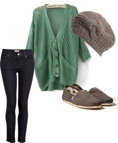 Comfy & Casual, fishnet sea foam green cardigan, gray knit cap, dark skinny jeans, toms gray skimmers