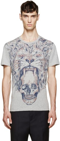 Alexander McQueen Gray Lion & Skull T-Shirt