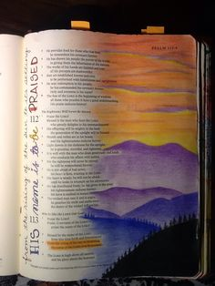 Psalm 113:3. Praise His name all day long. Sherrie Bronniman - Art Journaling: In My Bible