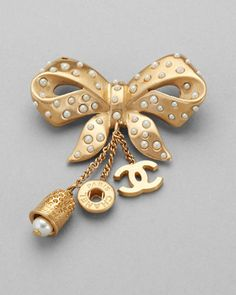 Chanel Gold Seed Pearl Bow Pin Brooch