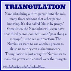 – Roles in the Triangle: Victim, Persecutor, Rescuer. In the narcissist's version he is the victim but in reality he is the persecutor. At some point the old supply, without knowing, tried to 'rescue' the 'victim'. Narcissistic People, Narcissistic Mother, Narcissistic Abuse Recovery, Narcissistic Behavior, Narcissistic Sociopath, Narcissistic Personality Disorder, Narcissistic Supply, Signs Of A Narcissist, Narcissist Quotes