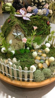Fairy garden with house by www.spritefyrestudios.com