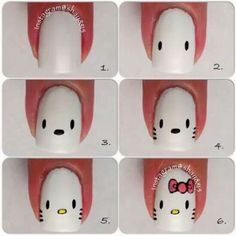 Hello Kitty nails. Cute!