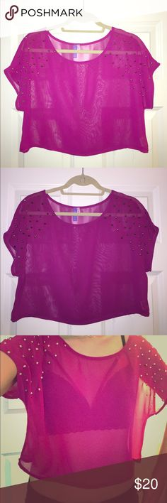 Crop top Fuscia sheer crop top w/ silver shoulder studs (small), worn once LF Tops Crop Tops