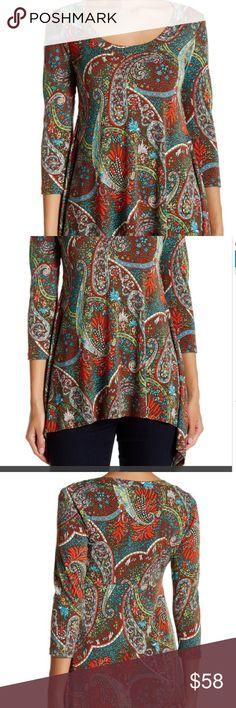 💼 Karen Kane Handkerchief Blouse Stylish Karen Kane Handkerchief  Blouse. Scoop neck, 3/4 length sleeves, all overprints and shark-bite hem.  Beautiful Multi print. 94% polyester and 6 % spandex. New with tags. Karen Kane Tops Blouses