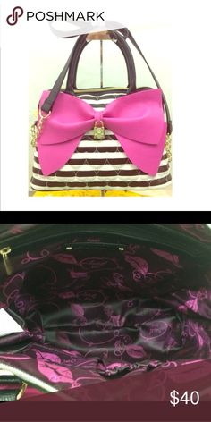 NEEDS TO SELL TODAY! READ WHY BELOW! EUC Perfect condition aside from very faint fading near zipper N the last pic. I've gotten a lot of compliments on this purse.PRICE IS FIRM I AM NOT TAKING OFFERS.   the money I get from sales is going to fix my boyfriends broken ac in his car. Our 2 yr anniversary is July 27th and I want to get it fixed as a gift to my baby. Plus it's 95 degrees in TN! Too hot not to have ac! Betsey Johnson Bags Crossbody Bags