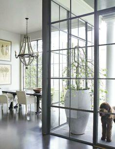 Steel and glass wall sun room