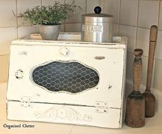 ugly thrift shop breadbox gets a facelift, chalk paint, crafts, repurposing upcycling, shabby chic