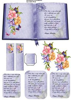 blue flower book and bookmark on Craftsuprint designed by Cynthia Berridge - a book sheet with bookm 3d Templates, Card Making Templates, Birthday Verses For Cards, Birthday Cards For Women, Step Cards, 3d Cards, 3d Prints, Decoupage Paper, Heartfelt Creations