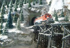 Model train winter scene