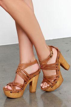 Sbicca Enfatico Tan Leather Platform Sandals at Lulus.com!