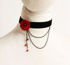 Fashion Women Retro Gothic Black Red Flower Lace Necklace Collar Choker, Elegant Beaty's Head Necklace For Women Black Velvet Choker Necklace, Rose Choker, Black Lace Choker, Flower Choker, Lace Necklace, Necklace Types, Collar Necklace, Necklace Set, Pendant Necklace