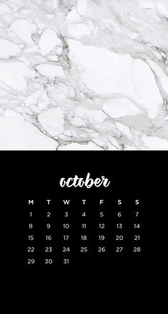 October 2018 calendar wallpaper iPhone