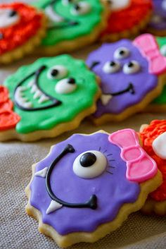 "Halloween Monster Cookies- like the theme of a friendly ""monster"" party Fall Cookies, Iced Cookies, Cut Out Cookies, Cute Cookies, Royal Icing Cookies, Cupcake Cookies, Holiday Cookies, Halloween Cookies Decorated, Halloween Sugar Cookies"