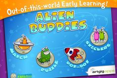 Alien Buddies ($1.99) The Alien Buddies iPhone/iPad app is designed with a variety of games and play modes to suit a range of ages from Preschool to Kindergarten. The games include:    Matching: color, shape, letter and number recognition (audio and visual modes)    Puzzle: problem solving, shape recognition    Dot to Dot: sequential counting, fine motor skills    Stickers: creative free play, fine motor skills (over 40 stickers and 8 landscapes)