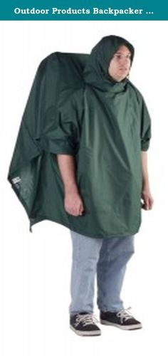 Outdoor Products Backpacker Poncho, Forest Green. Keep both yourself and your backpack protected from the elements with the Outdoor Products Backpacker poncho. Just pull this poncho out of its storage pouch, throw it on over yourself and your pack, and keep the rain off. Rust-resistant snaps form wrist openings, secure sides and stows the back panel when you're not wearing a backpack. You can also use it as a fly to cover your bivy or open air sleeping area.