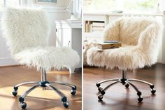 DIY Inspiration für gemütliche Büromöbel / Schreibtischstühle mit Lammfell aufpeppen.