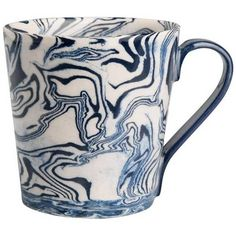 Simple Life Ebru Marble Ceramic Mug Blue By ($78) ❤ liked on Polyvore featuring home, kitchen & dining, drinkware, fillers, mug, coffee & tea cups, blue drinkware, blue tableware, blue tea cups and painted tea cup