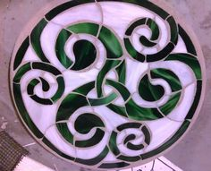 """Stained Glass Mosaic Celtic Knot Swirl 14"""" Round Stepping Stone on Etsy, $75.00"""