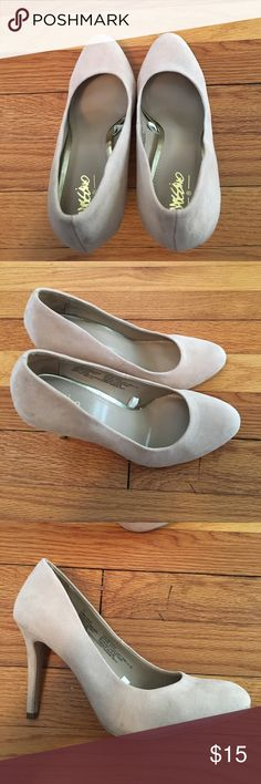 Mossimo beige suede pumps Round toe. Never worn.  No box. Mossimo Supply Co. Shoes Heels