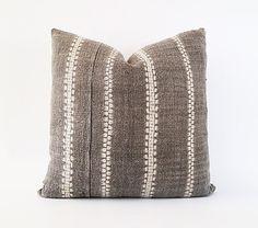 Vintage Hemp Hmong Gray Batik Textile Pillow by INDIEbungalow