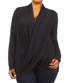Look what I found on #zulily! Black Drape Top - Plus by J-Mode USA Los Angeles #zulilyfinds