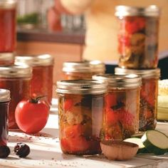 Garden's Harvest Pickles Recipe -This relish recipe from a friend is similar to giardiniera only sweeter. I have a certain sense of pride when giving jars as gifts knowing all the vegetables were raised in my own garden. Canning Tips, Home Canning, Canning Recipes, Canning Water, Water Bath Cooking, Canning Pickles, Pickles Recipe, Canning Food Preservation, Preserving Food