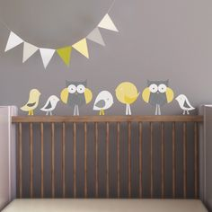 Project Nursery - Birds, Owls and Pennants Wall Decals from Trendy Peas