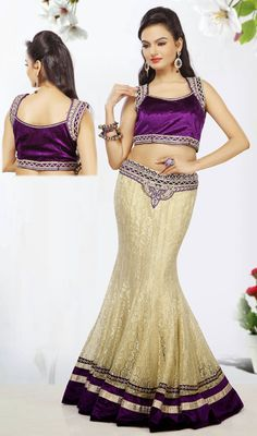 Cream Net Fish Cut Lehenga Choli Price: Usa Dollar $399, British UK Pound £233, Euro293, Canada CA$428 , Indian Rs21546.