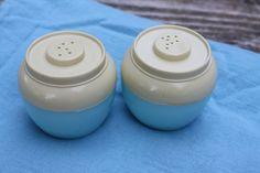 Vintage Admiration Salt and Pepper Shakers - Plastic - Cream and Aqua
