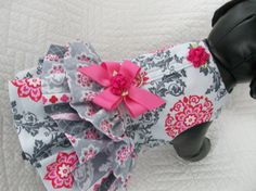 Valentine  Dog Dress with three ruffles and built in harness