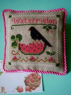 LHN watermelon cross stitch tiny pillow ornament