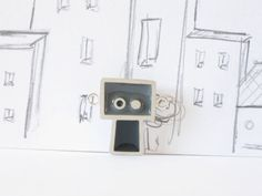 Collier en argent sterling et résine Pendentif par Gentilsrobots