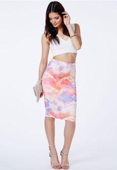 Asita Cloud Print Midi Skirt - Skirts - Midi Skirts - Missguided