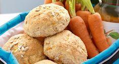 Gulrotrundstykker med solsikkefrø Hamburger, Muffin, Ice Cream, Yummy Food, Bread, Baking, Dinner, Breakfast, Desserts