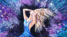 Galaxy Girl Star Burst,  fantasy acrylic painting