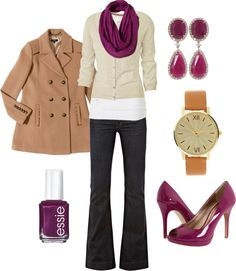"{ Teacher Style } ""Autumn Cranberry"" Dark wash boot-cut jeans, simple white tee, off-white 3/4 sleeve cardigan, plum purple scarf, plum earrings, plum flats, camel tan pea coat."