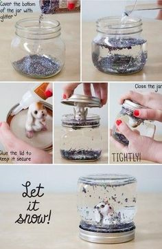 Homemade christmas gifts ideas. Every year I get my son a snowglobe. I think Im going to start making them with OUR memories instead of buying them!!!!
