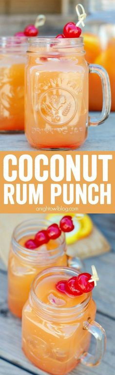 Punch Coconut Rum Punch Recipe - a delicious combination of tropical flavors and coconut rum to make one tasty party drink!Coconut Rum Punch Recipe - a delicious combination of tropical flavors and coconut rum to make one tasty party drink! Bar Drinks, Cocktail Drinks, Cocktail Recipes, Alcoholic Drinks, Drinks Alcohol, Alcohol Shots, Rum Cocktails, Malibu Rum Drinks, Coconut Rum Drinks