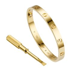Cartier Love Bracelet: easy to screw on with ergonomic screwdriver. Screw motif established as a timeless tribute to passionate romance :) LOVE it square radiant cut cartier love bracelets - fashion cartier love bracelets PERFECT! Cartier Bracelet Love, Love Cartier, Cartier Jewelry, Bracelets For Men, Silver Bracelets, Bangles, Gold Jewelry, Silver Ring, Silver Earrings
