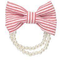Red Seersucker Bow Faux Pearl Bracelet