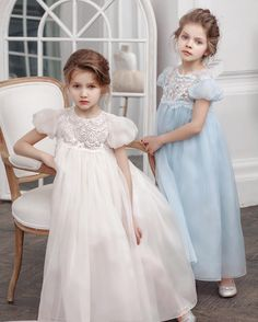 Two poems, two sisters, two dresses. Organza and hand made embroidery on the new collection dresses by Bibiona Couture #babydress #bibiona #couture #organza