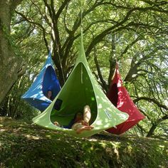 Cacoon modern hammock, discovered by The Grommet. A cross between a hanging tent and a hammock, the Cacoon is a chic and funky hideaway. Snuggle into the fully-enclosed hanging chair and lounge or relax to your heart's content.