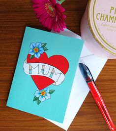 You might not be brave enough to get her name tattooed on your arm, but you can show her how important she is to you with this card. by ColdHandsWarmHeartCo on Etsy