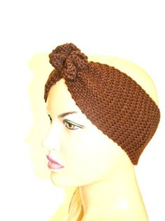 Brown  Hand Knitted Headband Ear Warmer Knit Bow by NesrinArt, $20.00