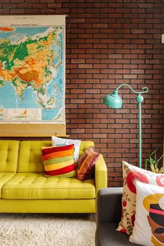 Map and brick wall