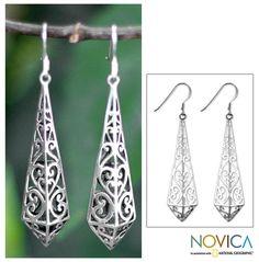 Sterling silver dangle earrings, 'Graceful Buds'