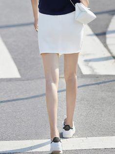 White Asymmetric Simple #Mini #Skirt